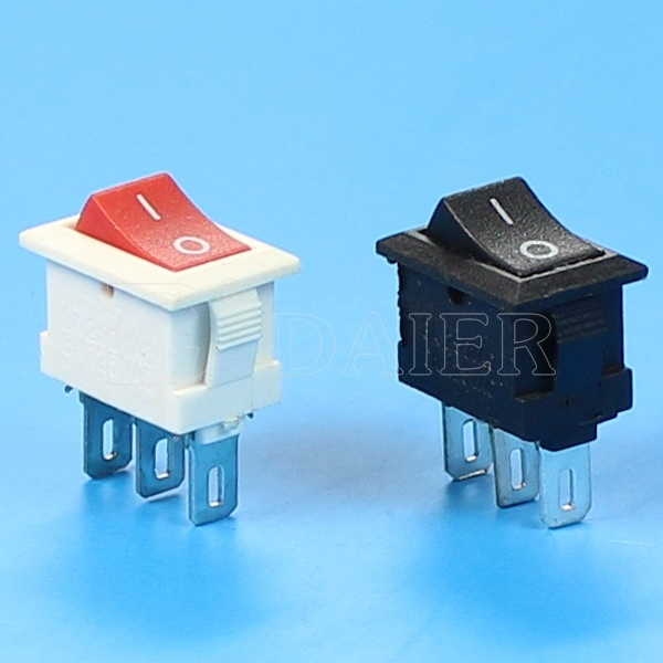 Small Spdt Red Button Black Body Rocker Switch