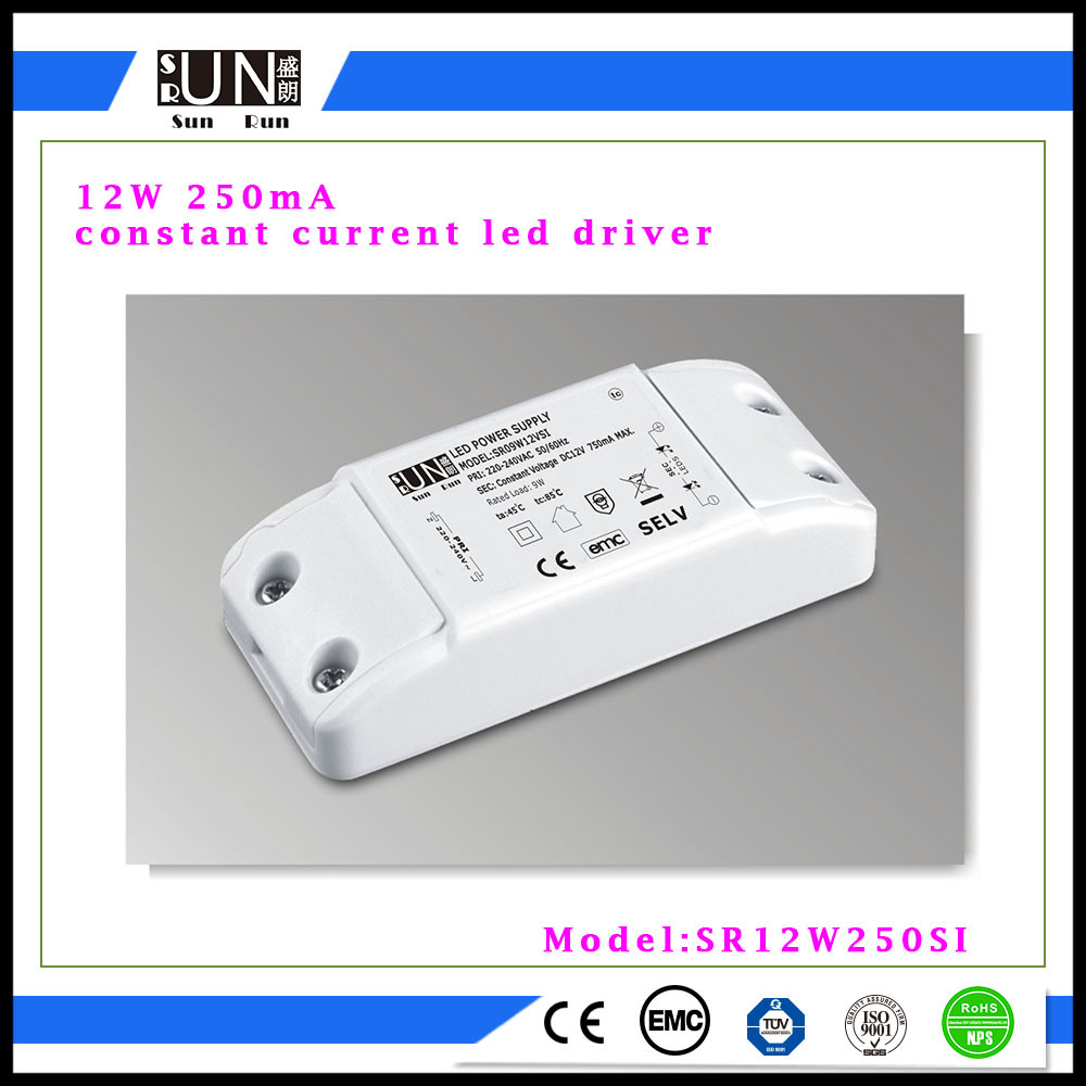 12W Constant Current 250mA LED Power Supply, High Power COB LED, High Brightness COB LED Light, High Power Factor, PF>0.9 12W Power Supply