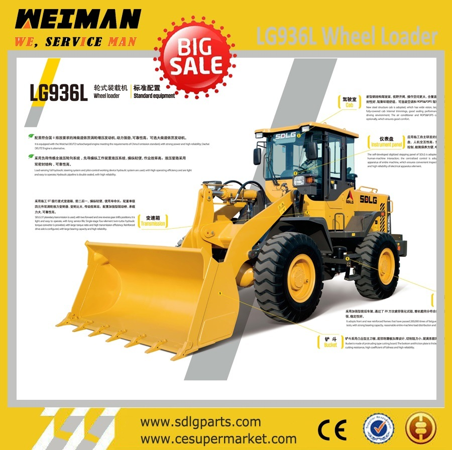 3t Wheel Loader Sdlg LG936L with A/C and Joystick