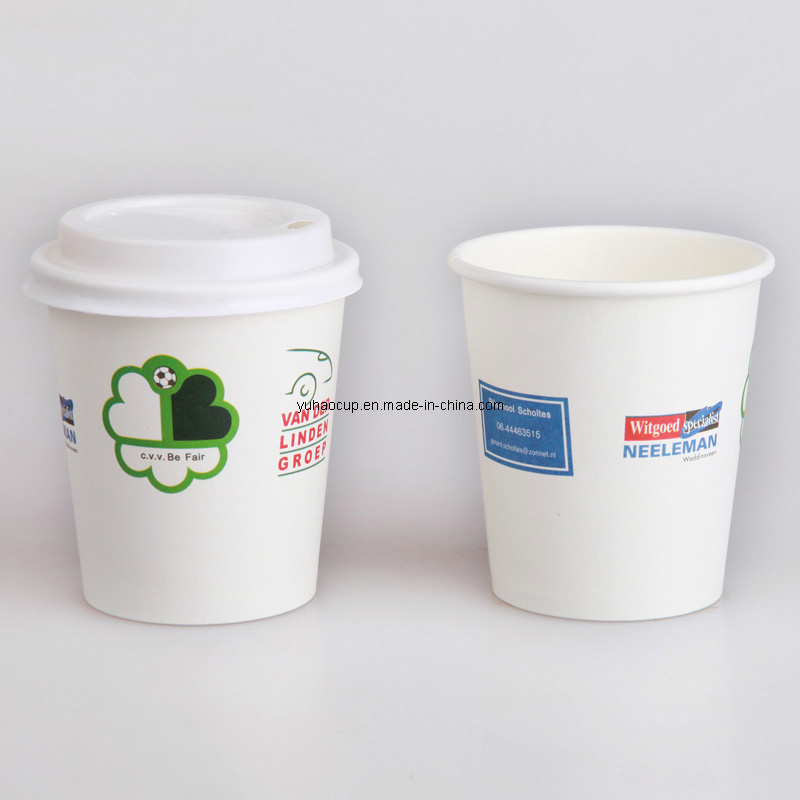 6oz White Paper Coffee Cup for Six Color Printing (YHC-023)