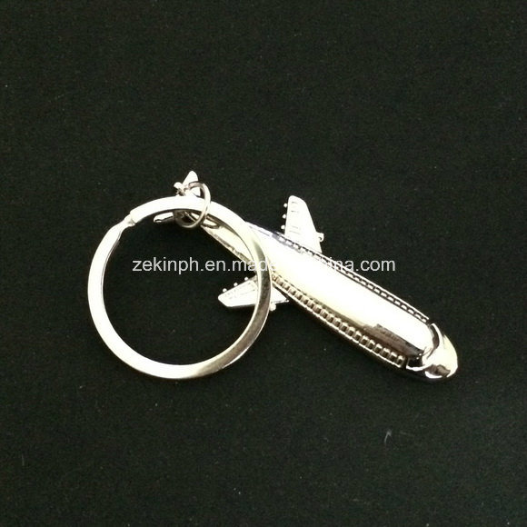 Metal Shiny Transportation 3D Airplane Keychain