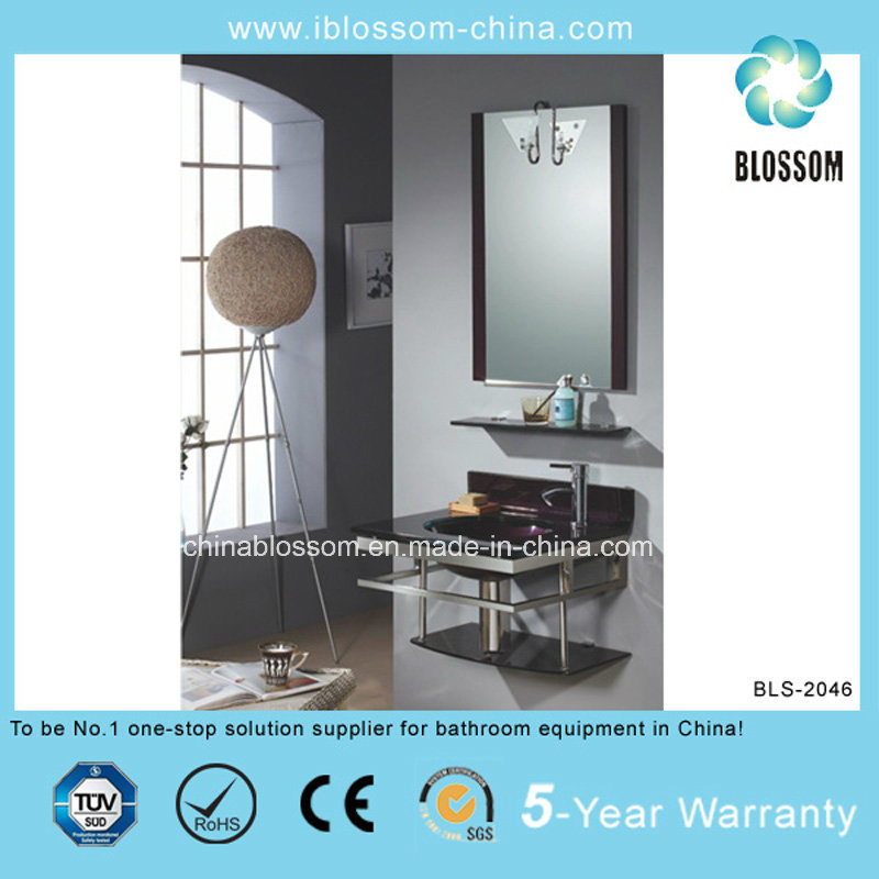 Bathroom Vanity Combo Vessel Lacquer Glass Basin with Mirror (BLS-2046)