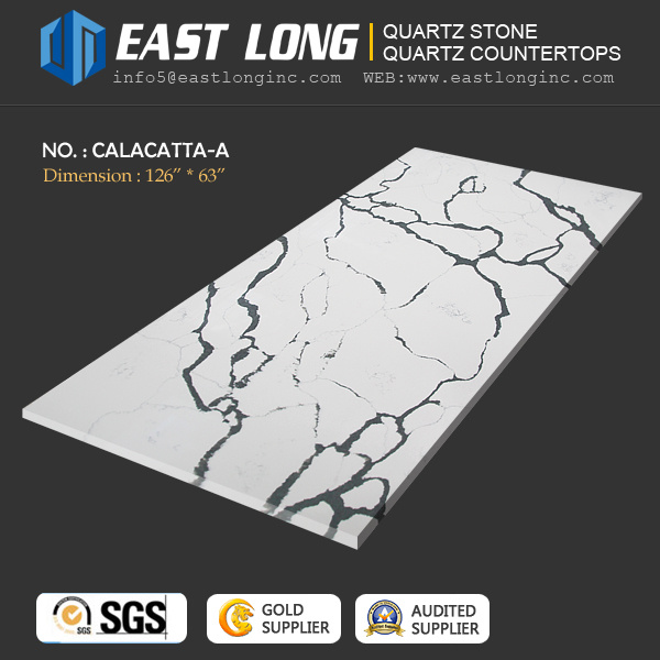 Calacatta Polished Quartz Stone for Countertops/Engineered/Vanitytops with Solid Surface