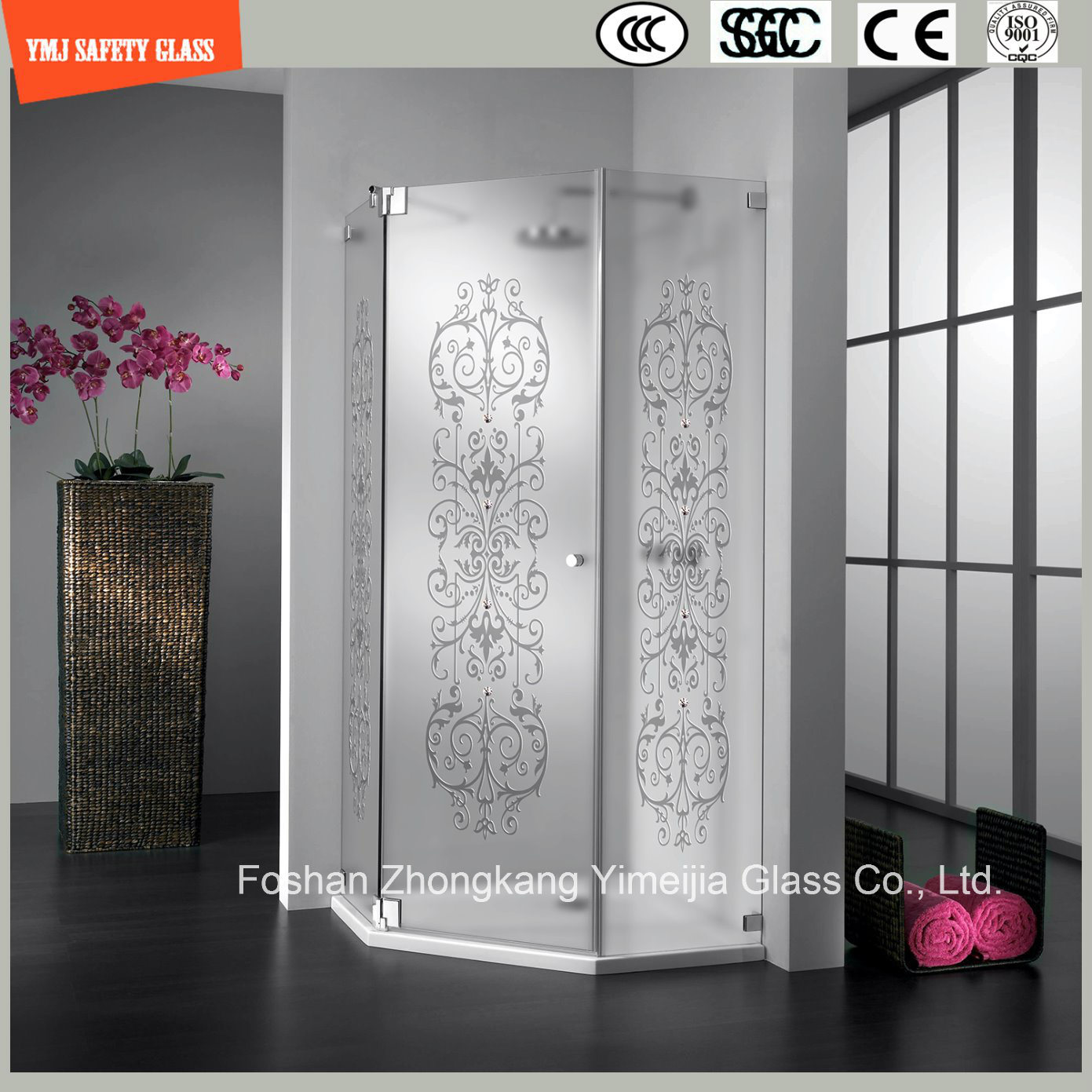 Acid Etched & Silk Screening Glass Shower Panel