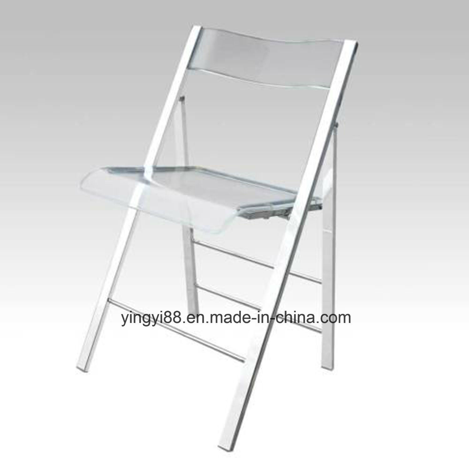 Modern Clear Acrylic & Steel Folding Chair