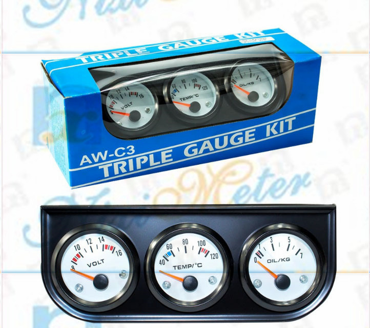 "2"" 52mm 0-100 Oil Pressure Gauge with White Dial"