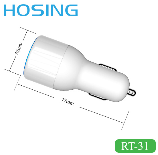 2 USB Port Car Charger with LED Light 3.4A