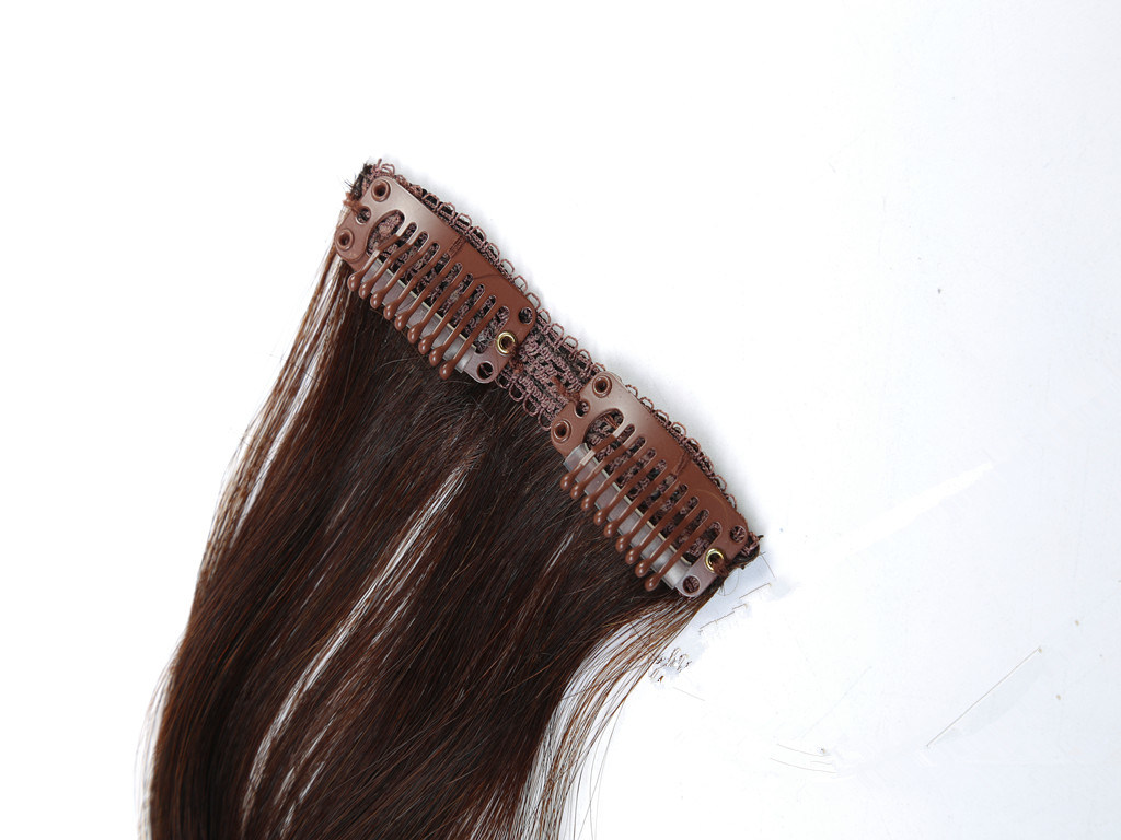 """Premium Quality 100% Human Hair Real Remy Clip-in Hair Extensions 24"""" Color: Brown, 10PCS Set"""