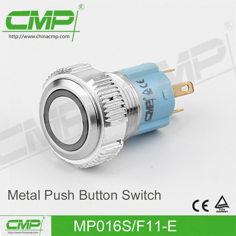 CMP 16mm Black Metal Push Button Switch (MP016S/F11-E/TUV, CE)