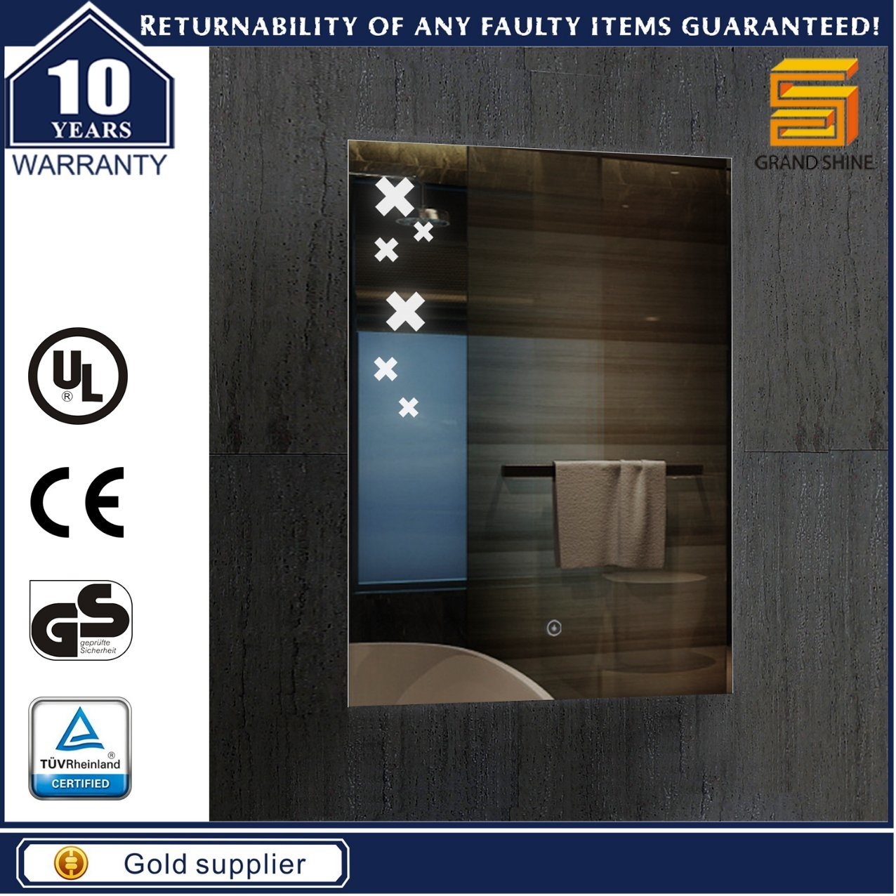 Custom Size Bathroom LED Light Mirrors