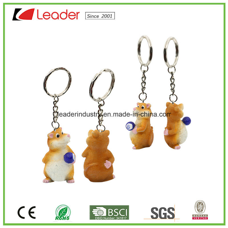 Custom High Quality Resin Key Chains with Hamster Figurine, OEM Is Welcome