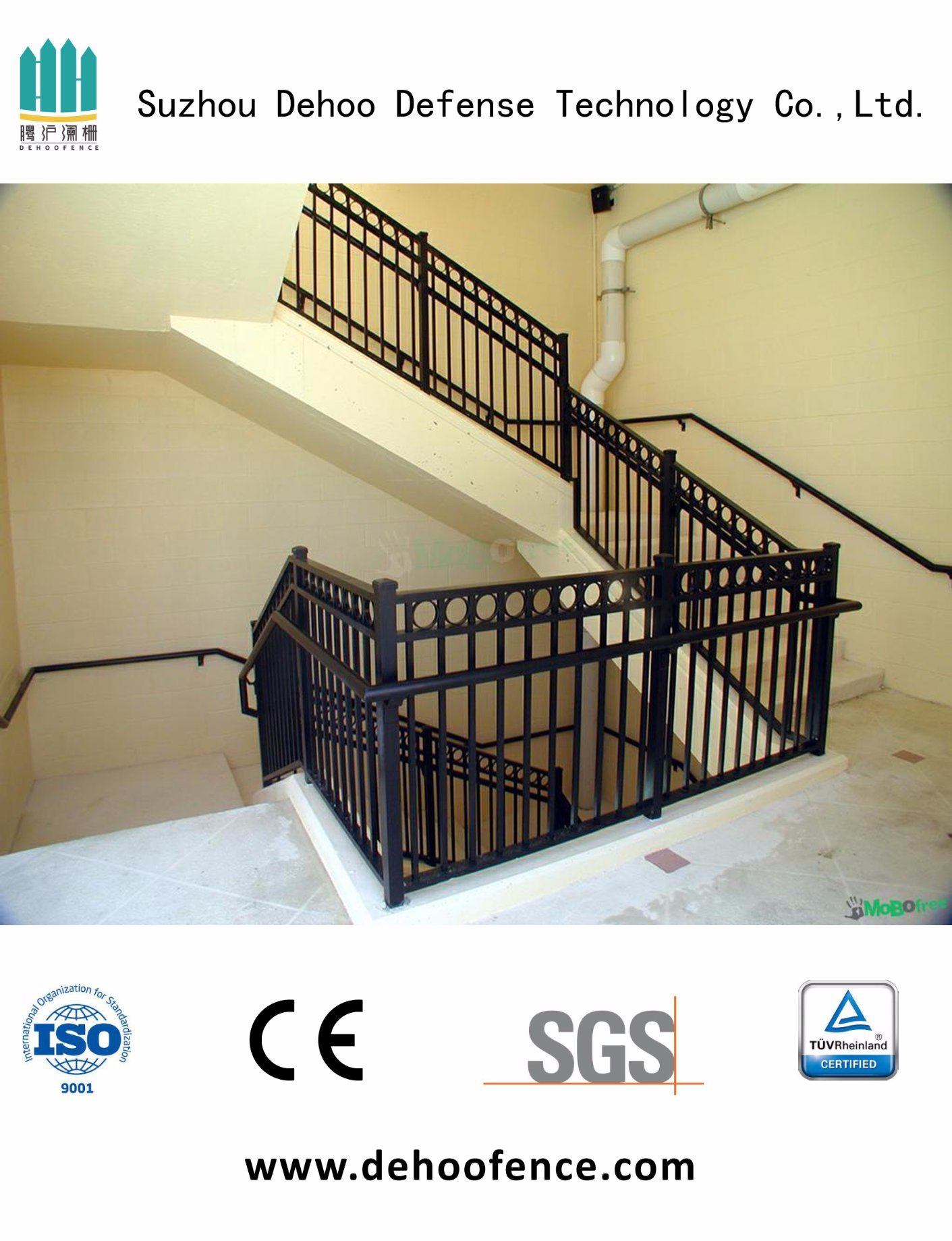 Galvanized Black Coated High Quality Stair Fencing for Home