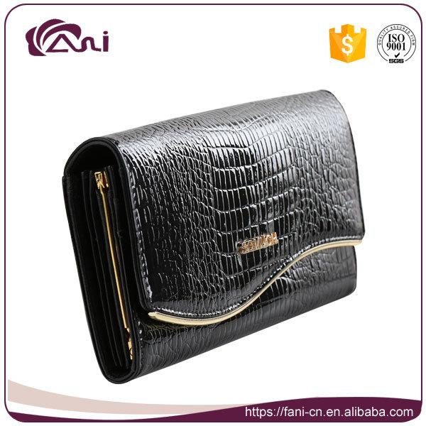 Black Crocodile Grain Metal Frame Clutch Wallet, Woman Genuine Leather Wallet High Quality