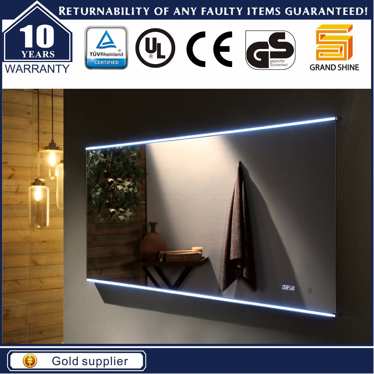 IP44 LED Mirror for Hotel Bathroom and Guestroom