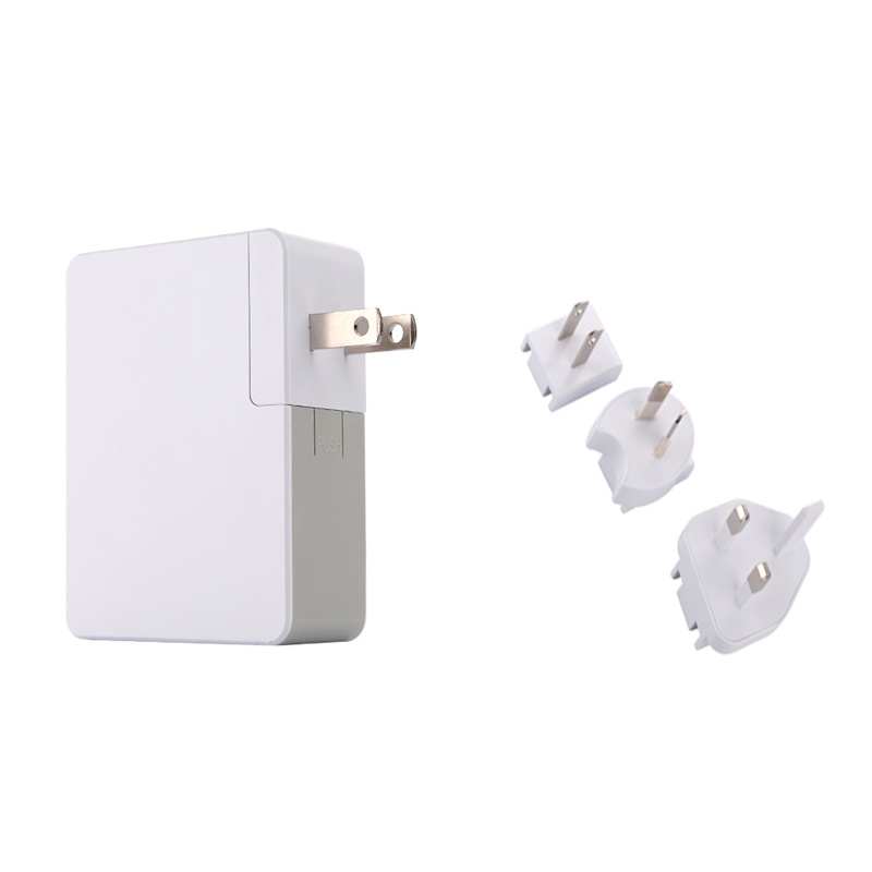 Interchangeable Plugs Portable Dual USB Mobile Phone Travel Wall Charger