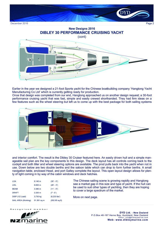 30′ Fiberglass Dibley Sailing Yacht Cruising Yacht Hangtong Factory-Direct