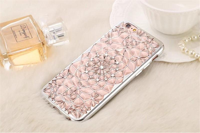 Luxury Gold Bling Glitter Plating Diamond Phone Case for iPhone 7 Plus 6 6s Plus Soft TPU Back Se 5 5s Cover (XSDD-018)