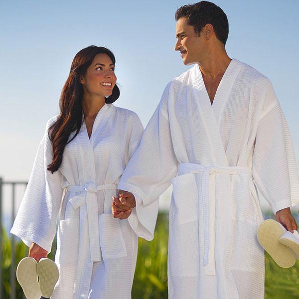 Couples Robe Kimono Hotel Waffle Cotton White Bathrobe/Robes