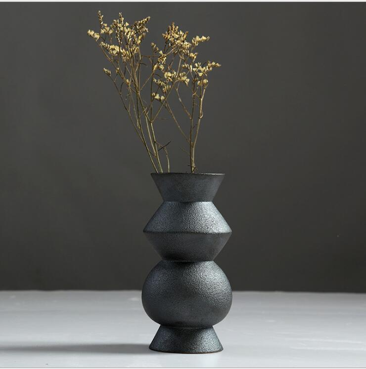 Porcelain Ceramic Vases, Ceramic Black Floret Bottle