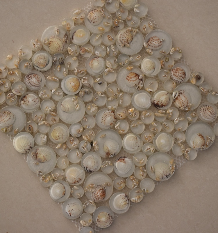 High Quality River Rock Bubble Round Glass Mosaic Tile with Shell