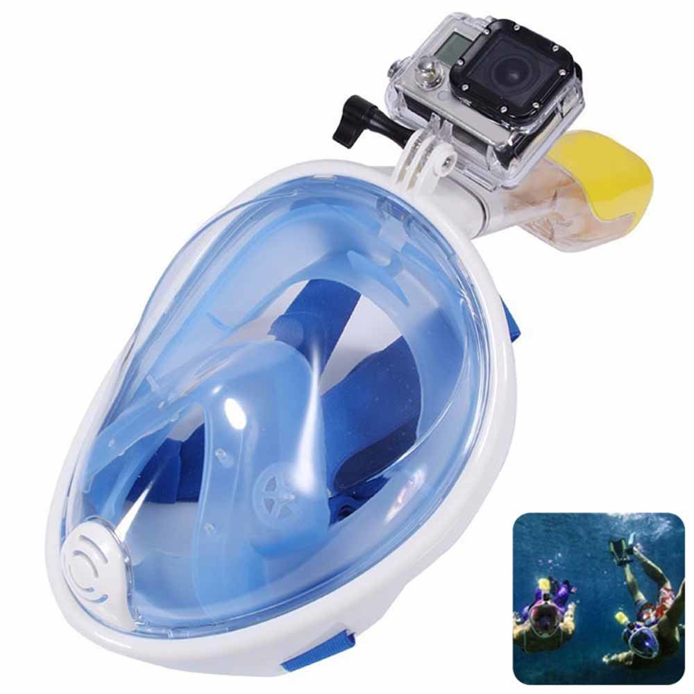 Blue Full Face Snorkel Mask- Panoramic View Snorkeling Mask for Adults with Camera Mount