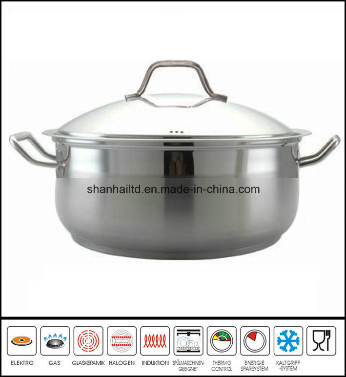 Large Low Stainless Steel Casserole