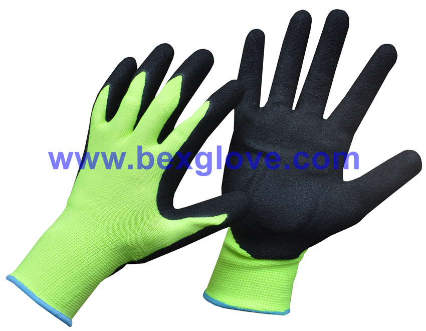 13 Gauge Fluores Polyester, Nitrile Coating, Sandy Finish Safety Gloves