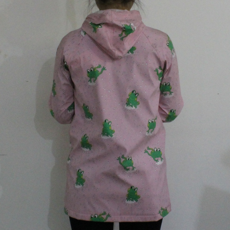 Pink Frog Hooded PU Raincoat