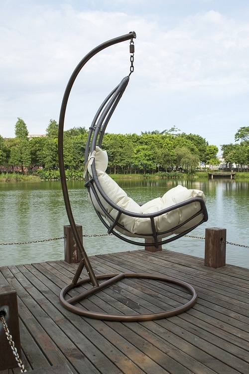 New Design Outdoor All Weather Hand Woven PE Wicker Rattan Hammock