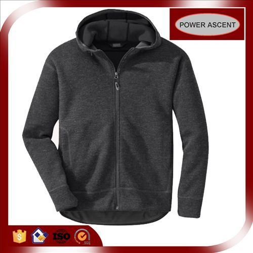 2015 Mens Grey Softshell Wool Fleece Hoodie for Winter