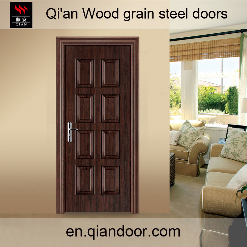 Heat Transfer Printed Black Walnut Steel Front Door