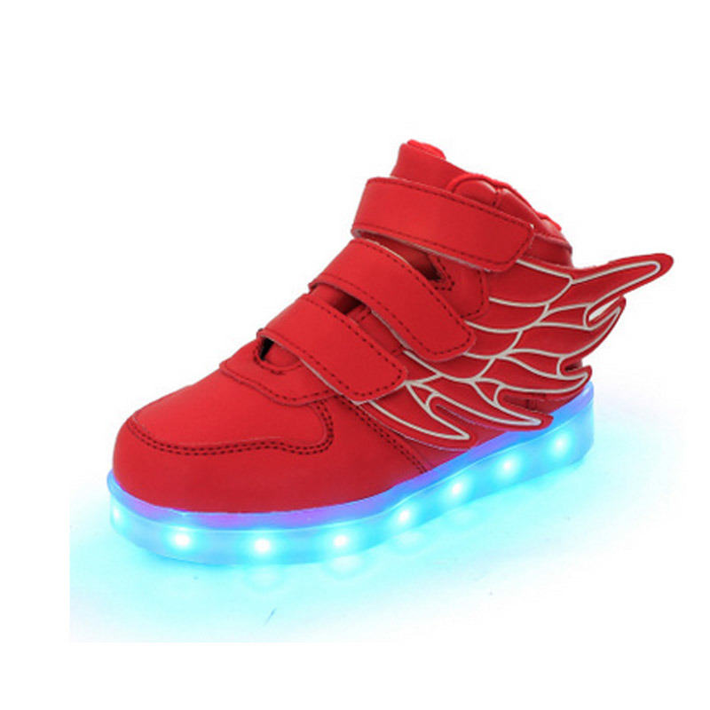 USB 7 Light Color Fashion Pink Angel Wings LED Shoes