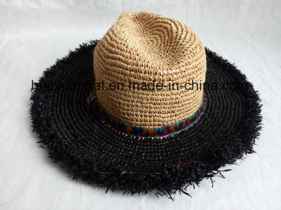 Crocheted Raffia Straw Leisure Style Safari Hats