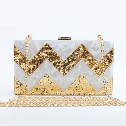 2017 Stylish Acrylic Box Clutch Bag Shining Evening Bags for Women Bridal Party Eb850
