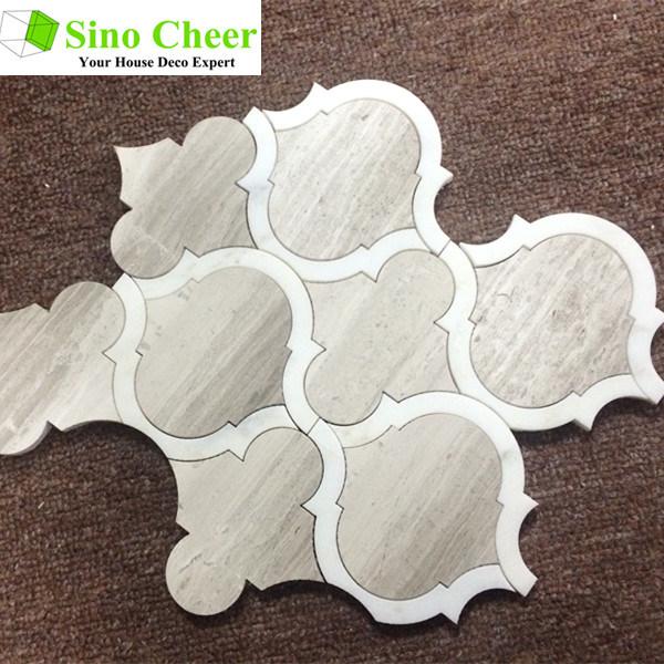 Lantern Shape White Carrara Mosaic Tiles for Art Design