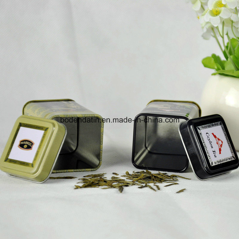 Small Square Tea Packaging Tin Box with Food Grade Varnish China Supplier