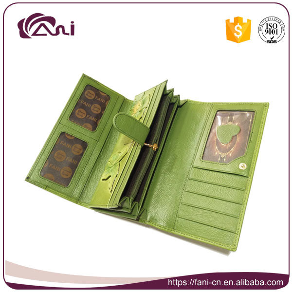 New Design Leaf Embossed Printed PU Wallets for Ladies