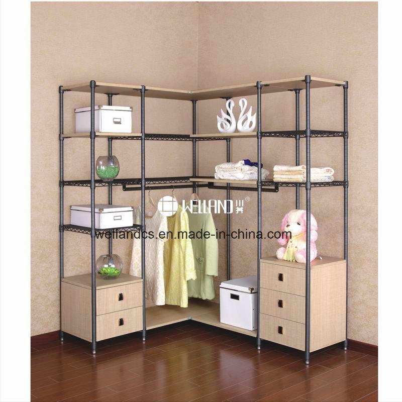 Multifunction Bedroom Clothes Storage Steel-Wooden Furniture