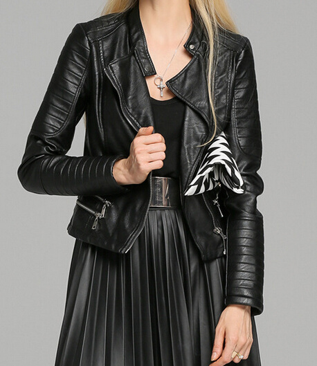 Cultivate One′s Morality Fake Leather Shorts Jacket Puj0705