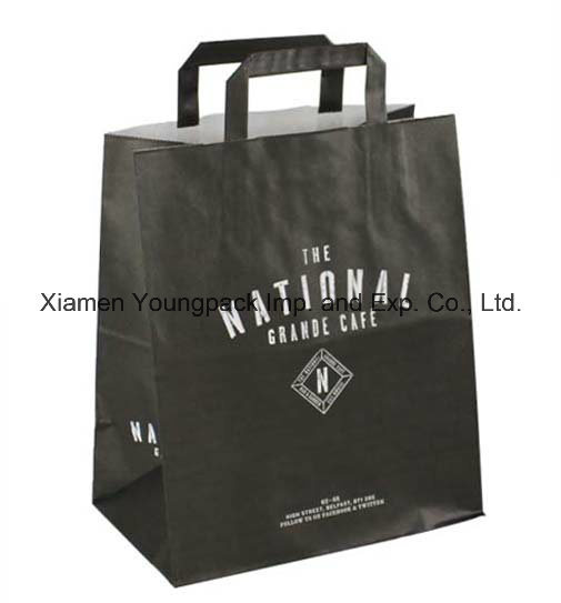 Fashion Custom Printed Flat Handle White Kraft Paper Carrier Bag with Wide Gusset