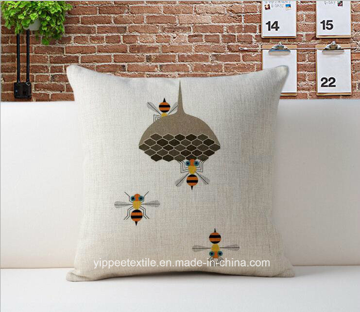 Printed Cushion Cover, Cushion, Back Pillow Made of Linen/Cotton Fabric