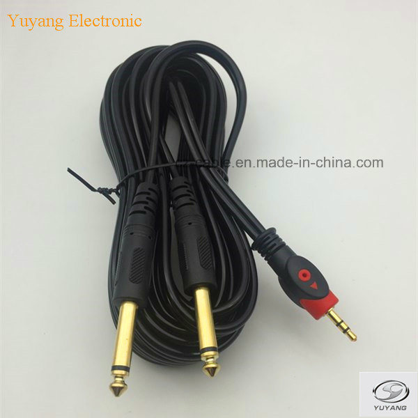 RCA/AV/TV/Audio Cable, 3.5mm/3.5 Stereo Plug to 2 6.35mm/6.35 6.5mm/6.5 Mono Plugs