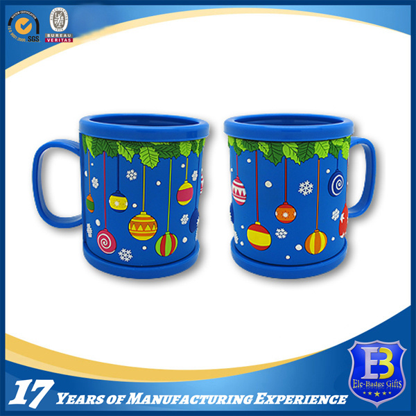 Blue Acrylic Mug with Rubberized PVC Tape for Promotion (Ele-PVC018)