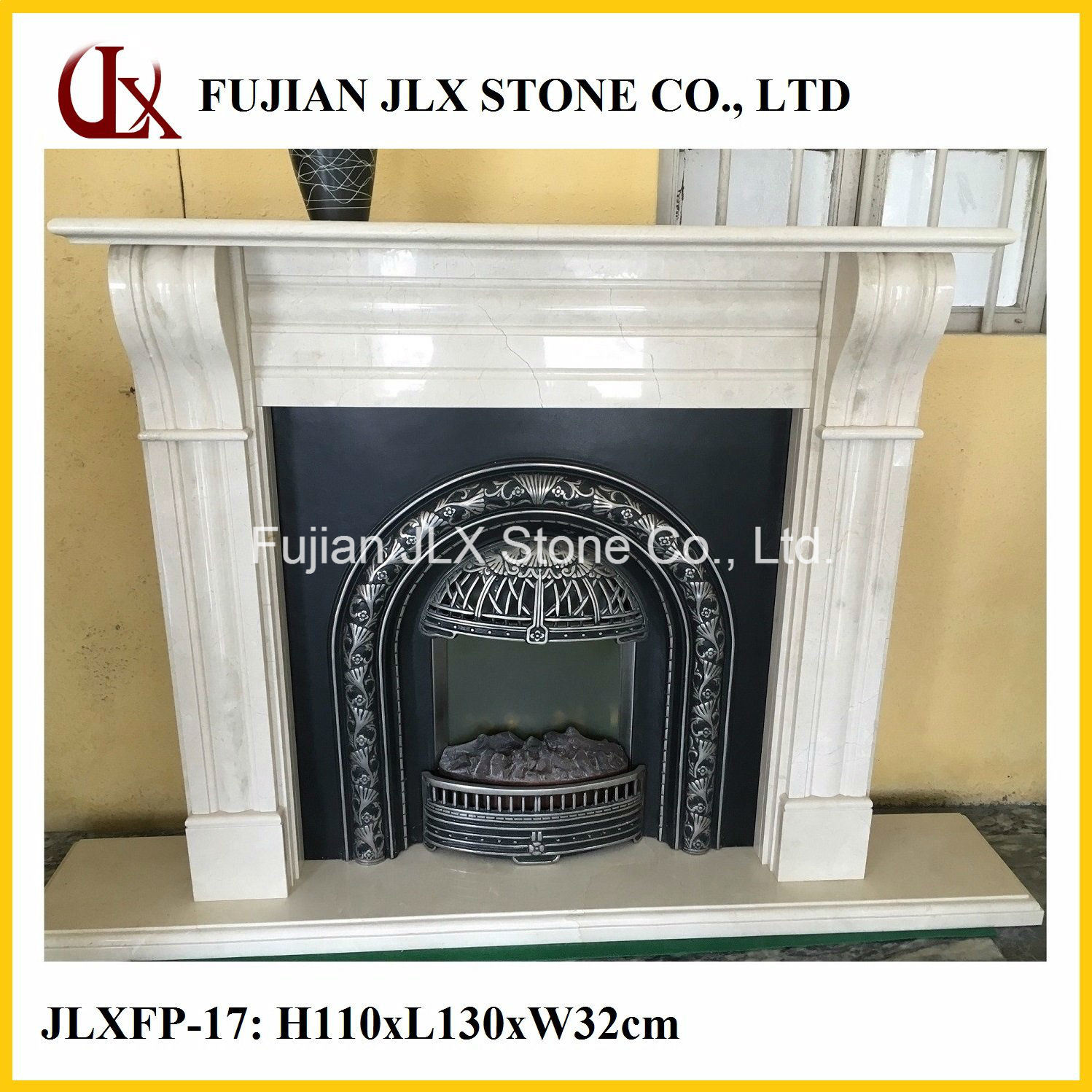 Polished Marble Stone Fireplace Mantel in Modern Type
