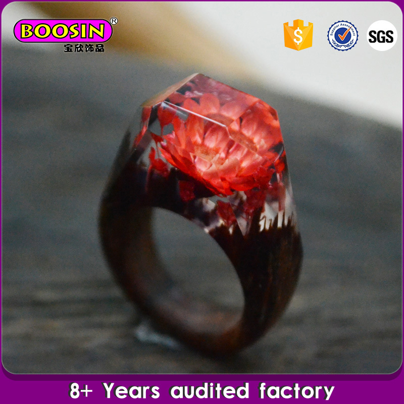 100% Handcraft Secret Landscape Wood Resin Ring Jewelry