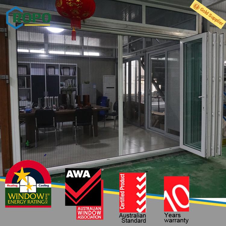 UPVC/PVC Outdoor Bifold Door with Retractable Screen