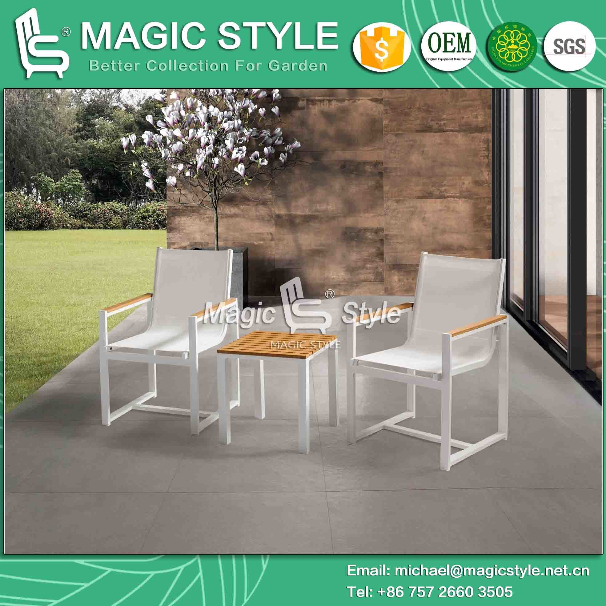 Textile Chair with Plastic Slat Outdoor Side Table with Plastic Slat