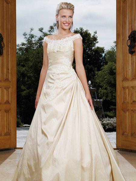 China 2011 new style cream v neck pleated wedding dress for Simple cream wedding dresses
