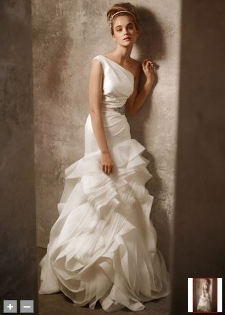 2011 One Shoulder Structured Fit and Flare Gown Wedding Dress ETT018
