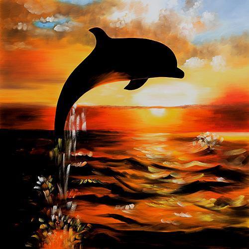 Dolphins Sunset Painti...